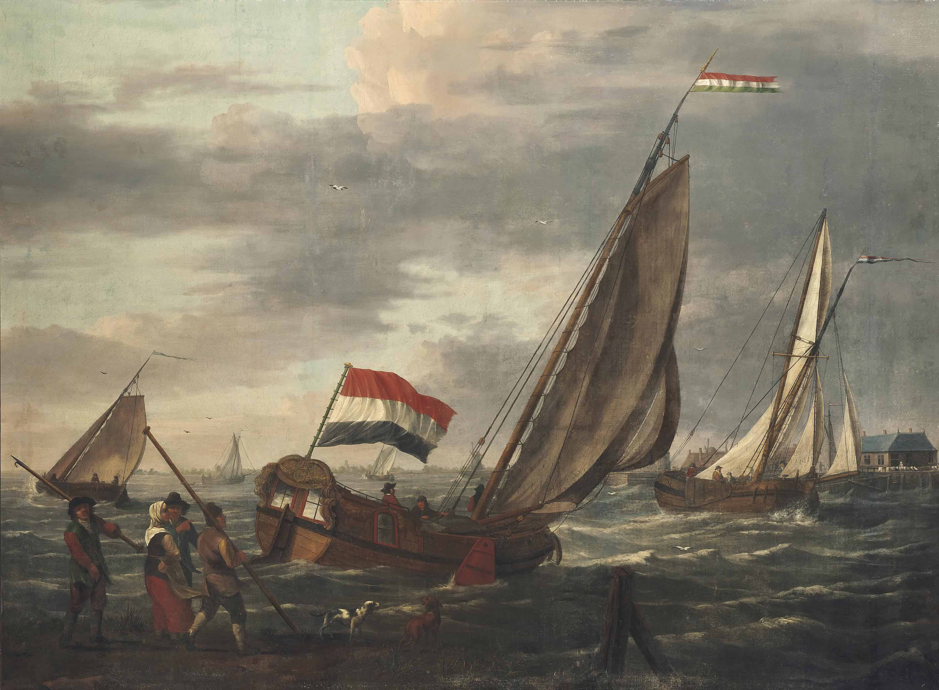 Dutch sailing vessels on choppy waters, the city of Dordrecht beyond