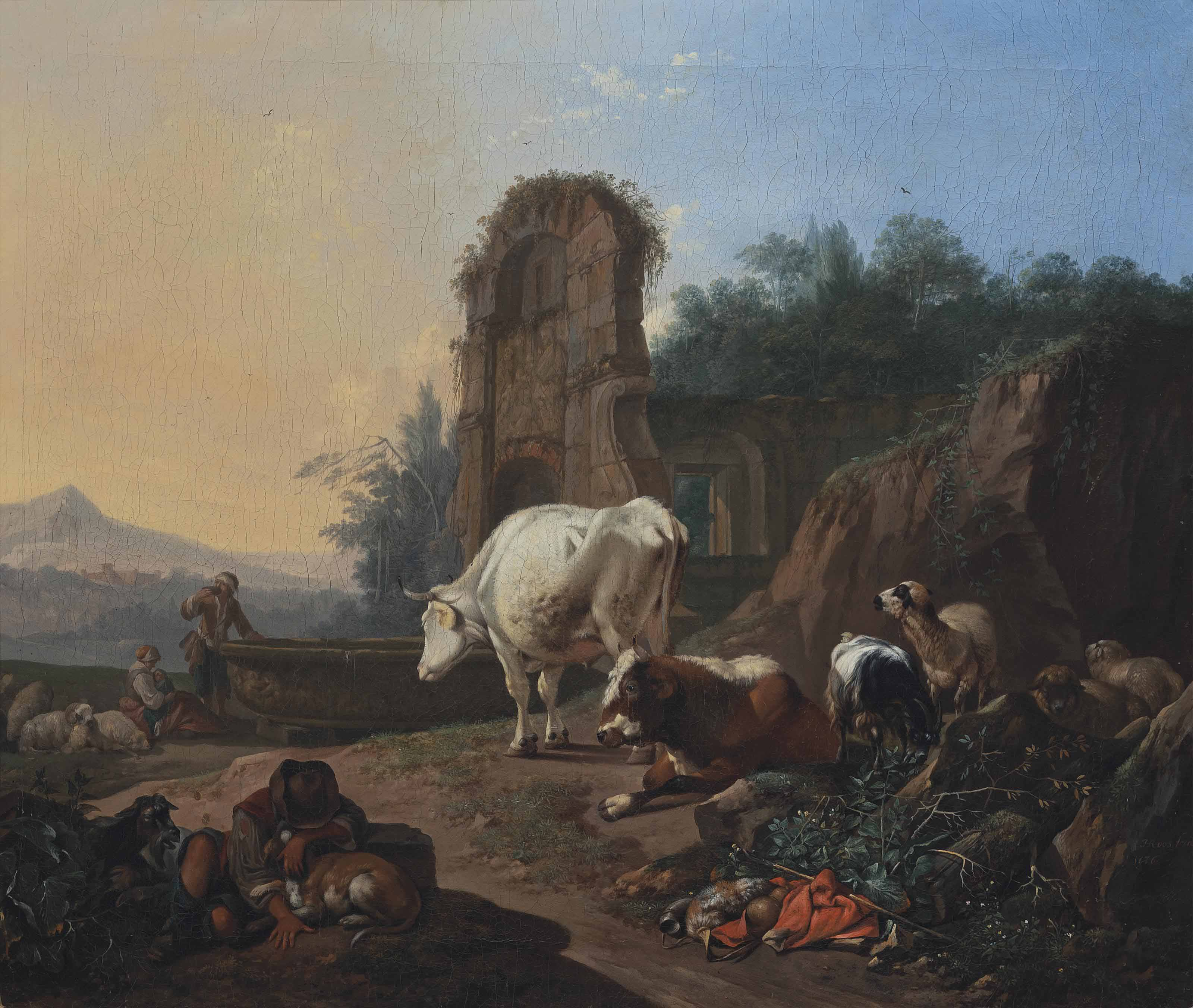 A pastoral landscape with a sleeping herdsman, cattle, goats and sheep, a fountain and architectural ruins beyond