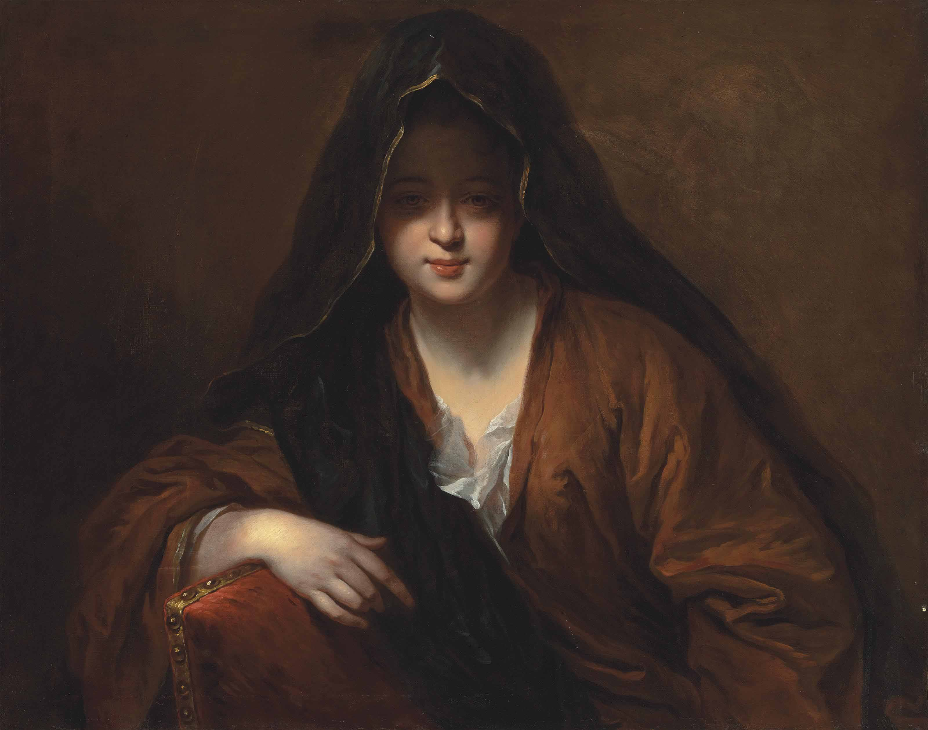 Portrait of a lady, half-length, in an ochre gown and a black, gold-trimmed veil, leaning on a red upholstered chair with a gold nailhead trim