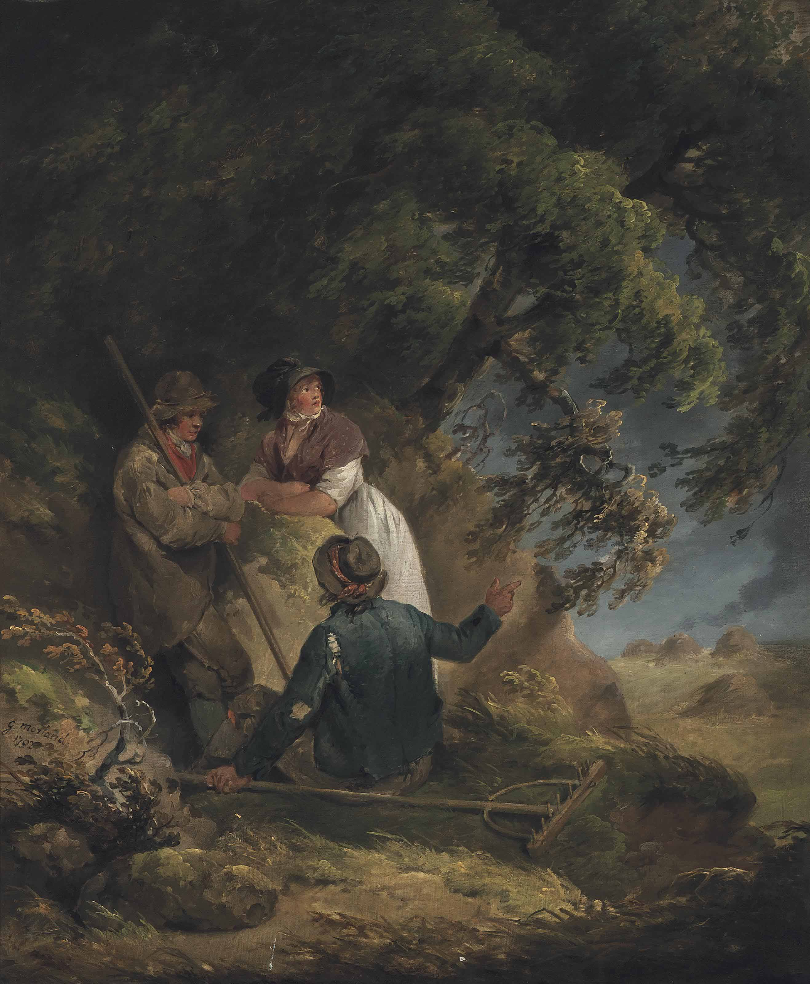 A wooded landscape with two haymakers and a peasant girl taking shelter from a storm