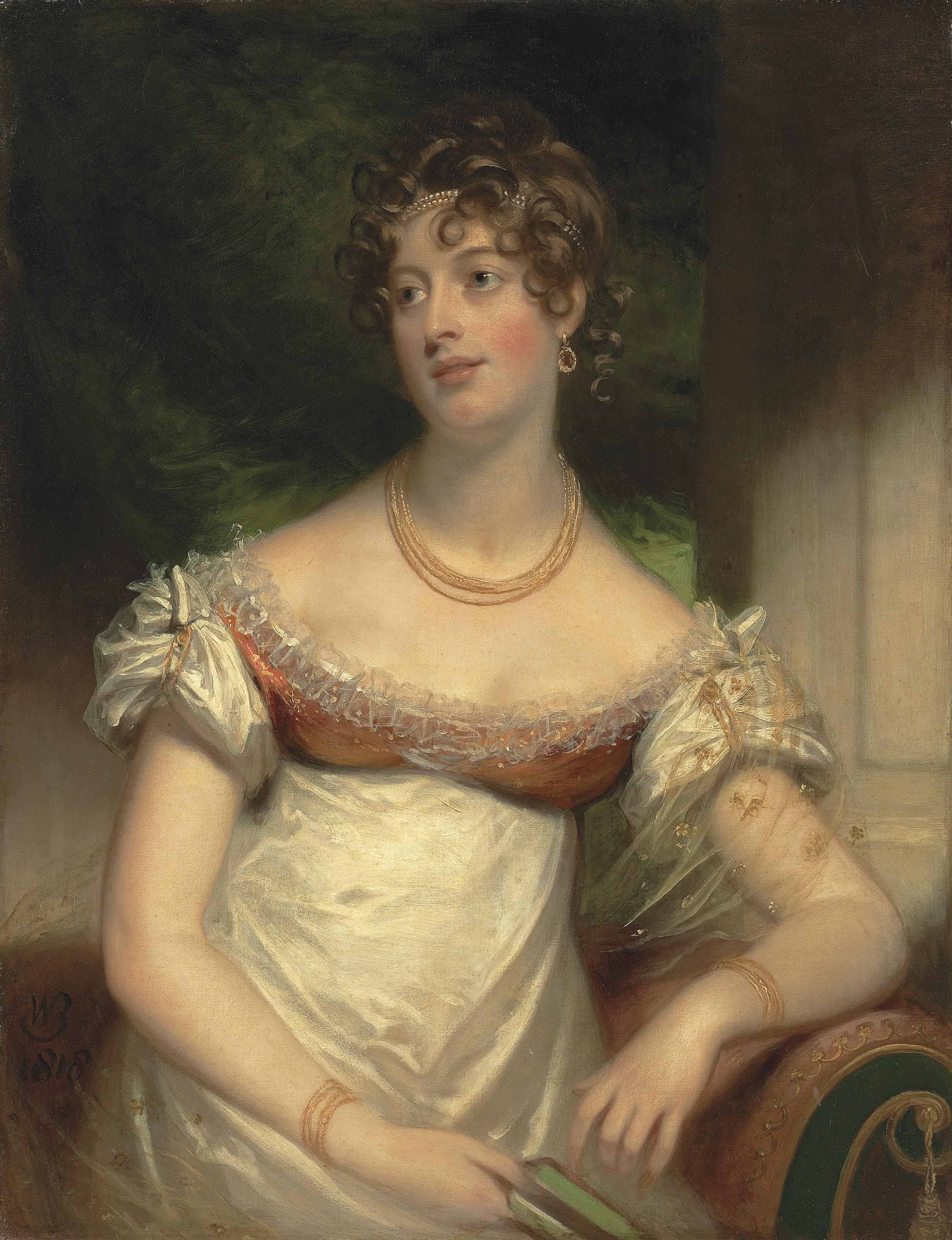Portrait of Miss Anne Lee, half-length, in a white dress, with a gold necklace and bracelets, pearls in her hair, a book in her right hand, in an interior