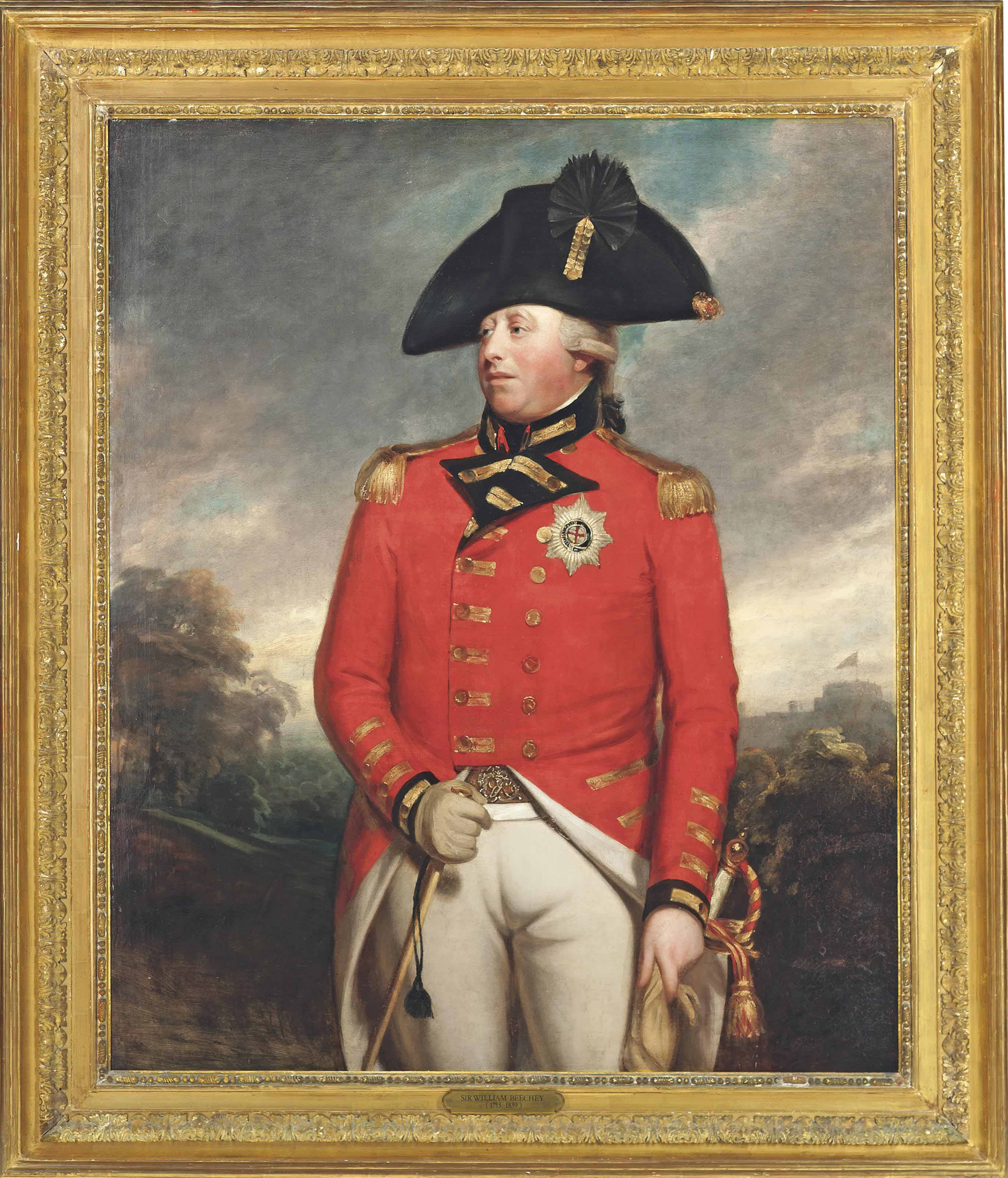 Portrait of King George III (1738-1820), three-quarter-length, in Field Marshal's uniform, with the Star of the Order of the Garter, with Windsor Castle beyond