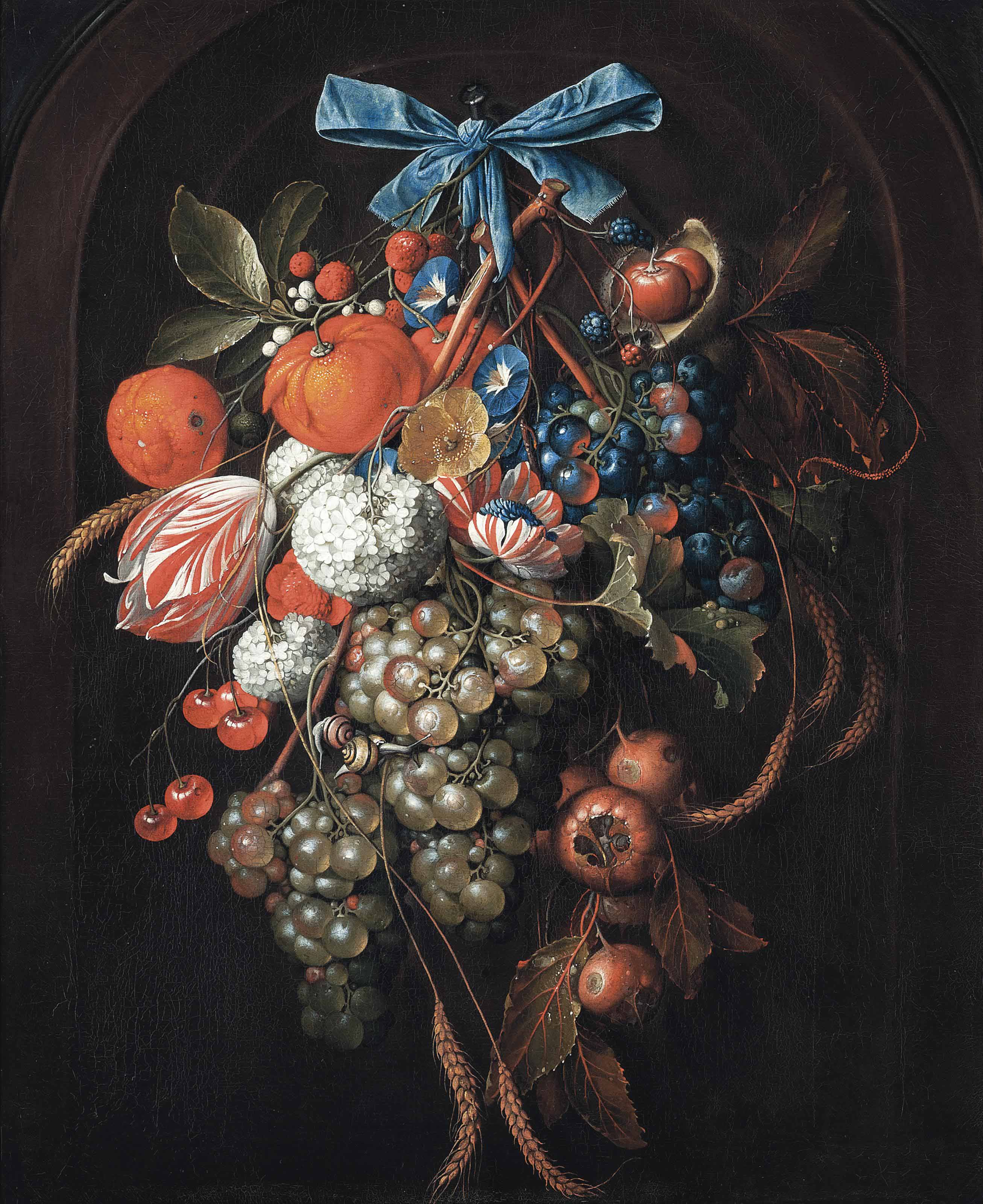Hydrangeas, morning glories, a parrot tulip and other flowers with grapes, oranges, cherries, blackberries, ears of corn, loquats, and chestnuts, with two snails, hanging from a blue bow in a feigned arched stone niche