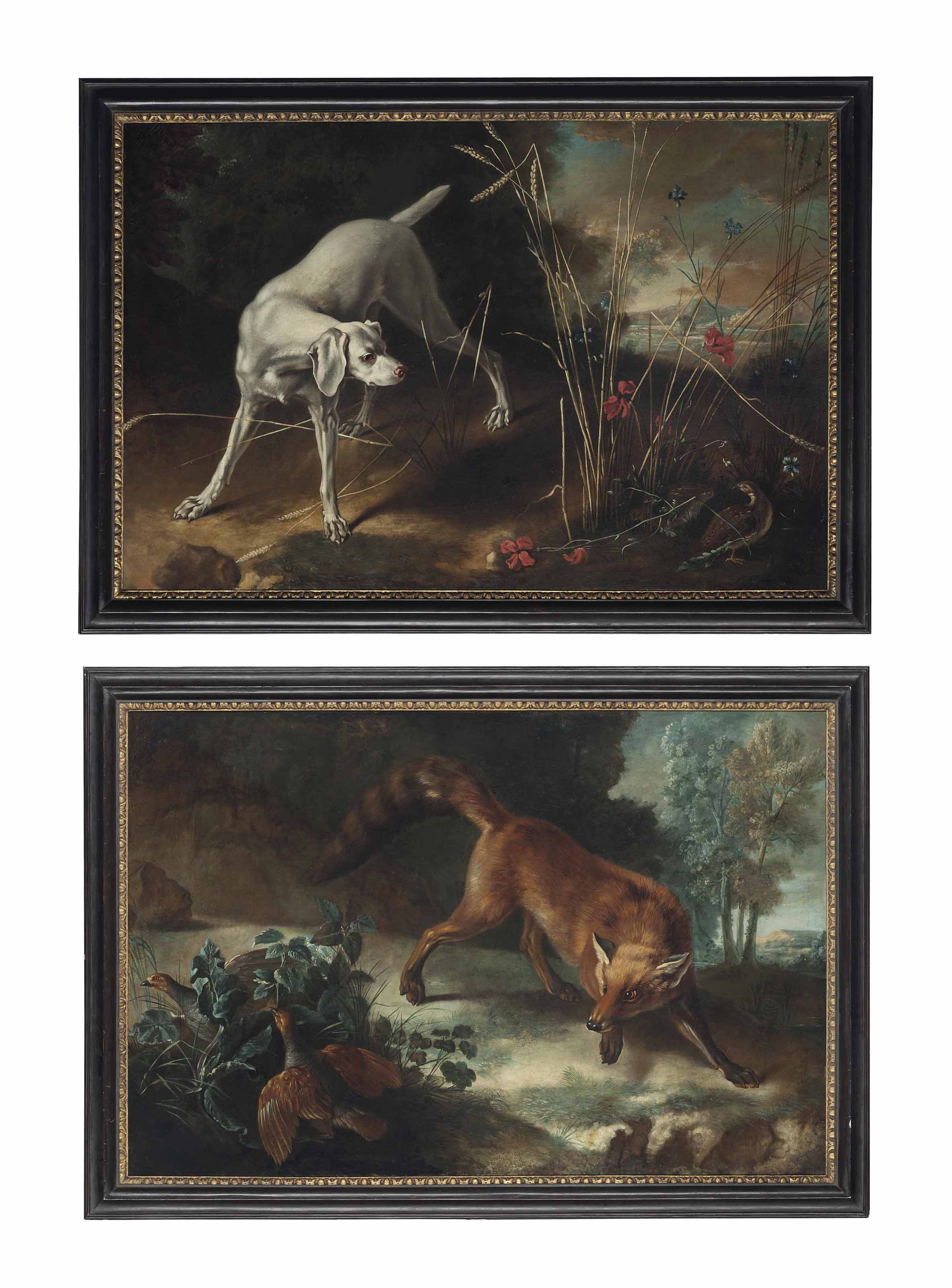 A dog pointing a partridge; and A fox stalking a brace of partridges