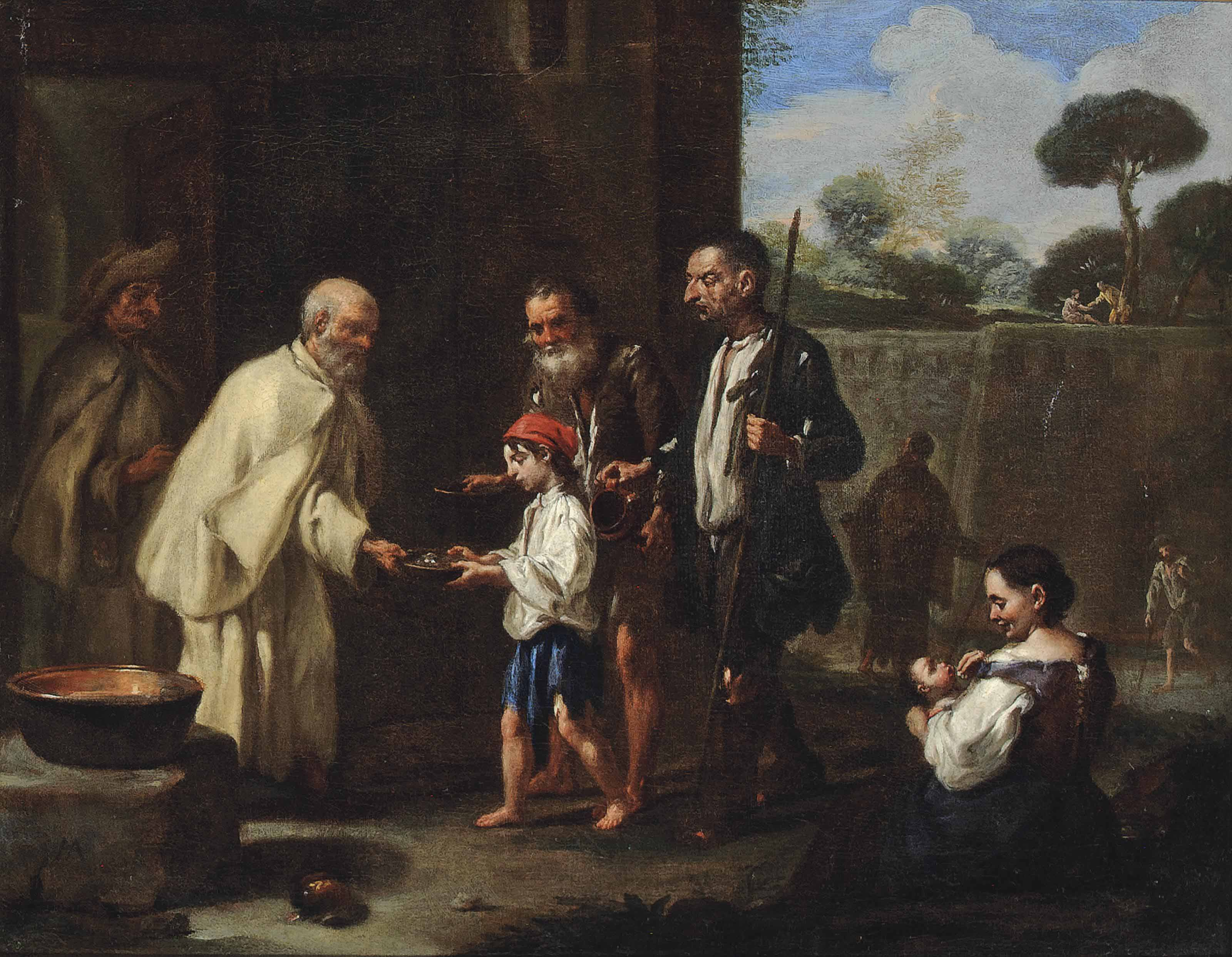 Peasants receiving food from a Carthusian