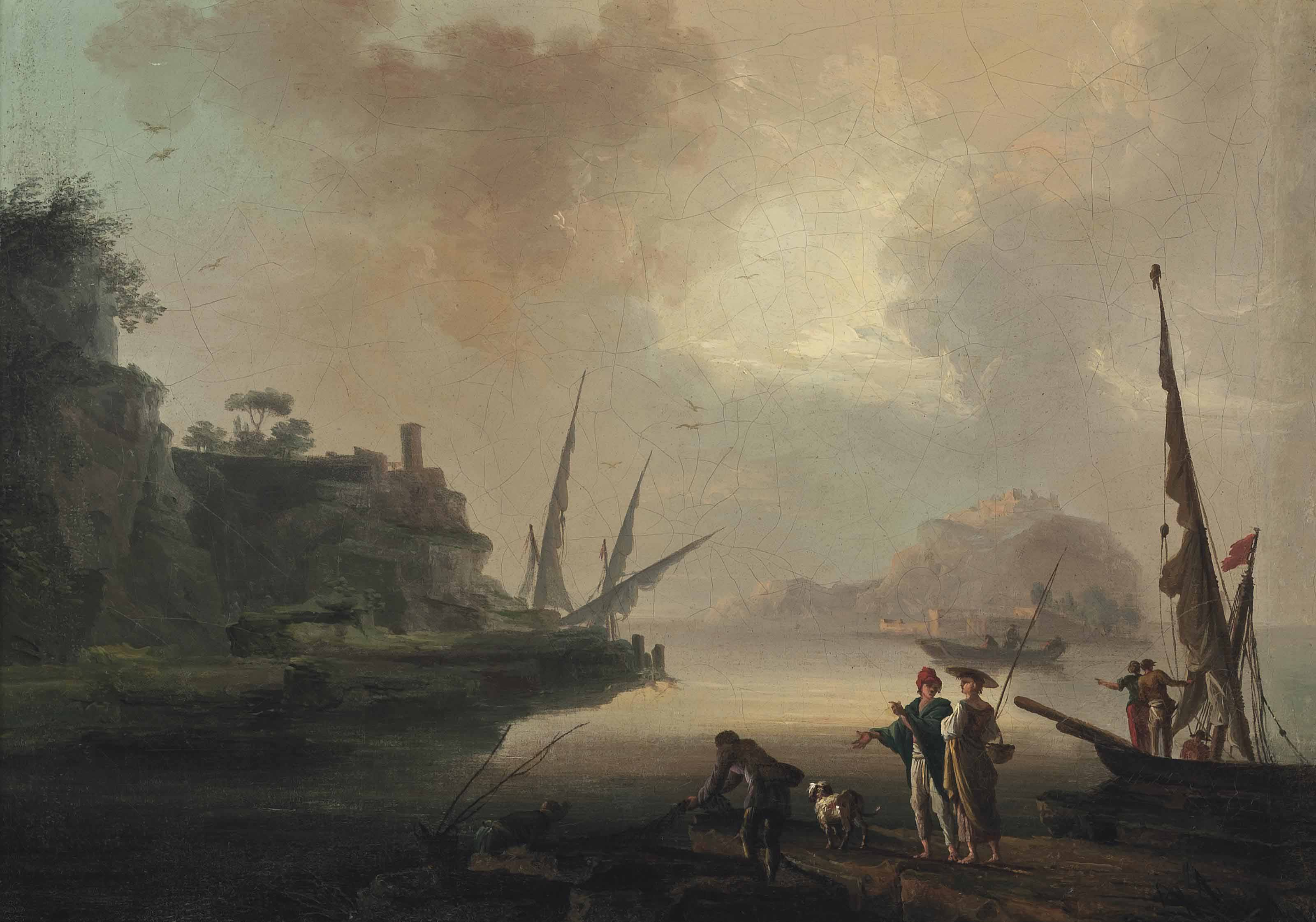A Mediterranean harbour scene, with fishermen on the shore and boats beyond