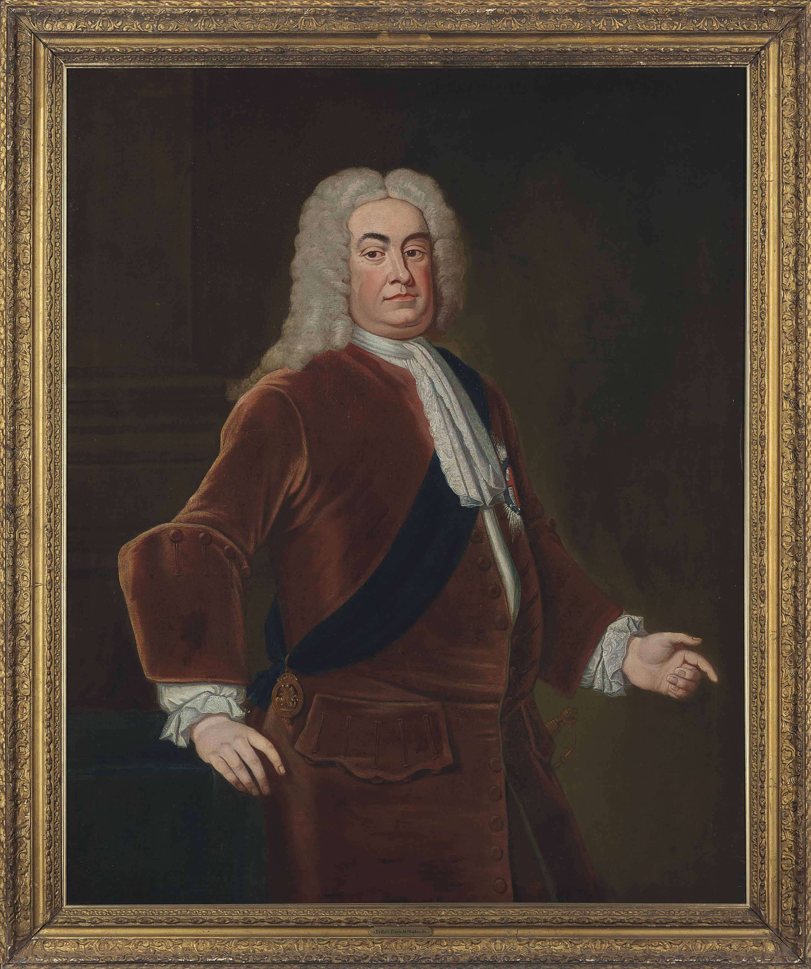 Portrait of Sir Robert Walpole, 1st Earl of Orford (1676-1745), half-length, wearing the Star and Sash of the Order of the Garter