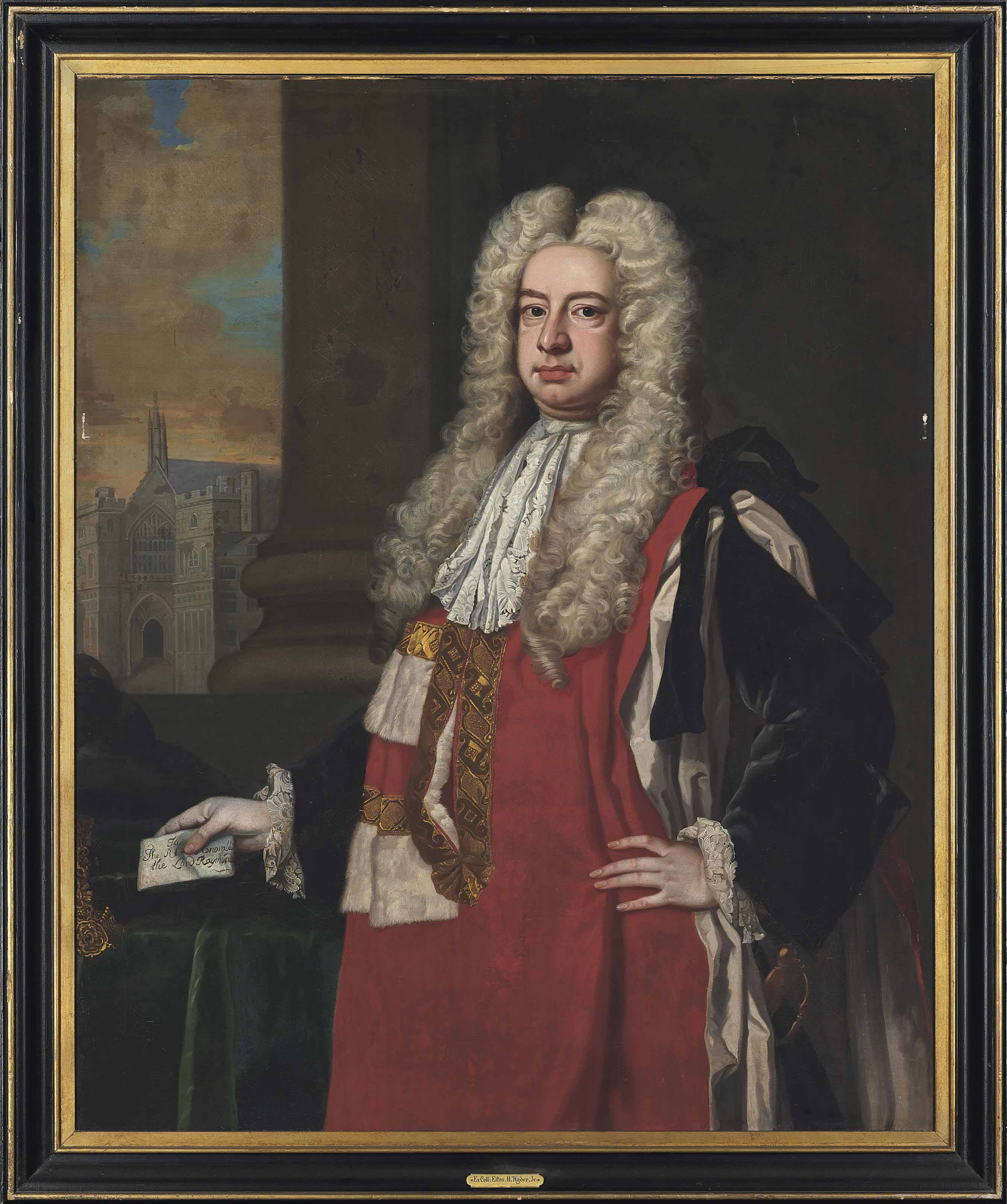 Portrait of Lord Raymond 1st Baron Raymond (1673-1733), three-quarter-length holding a note, cathedral beyond