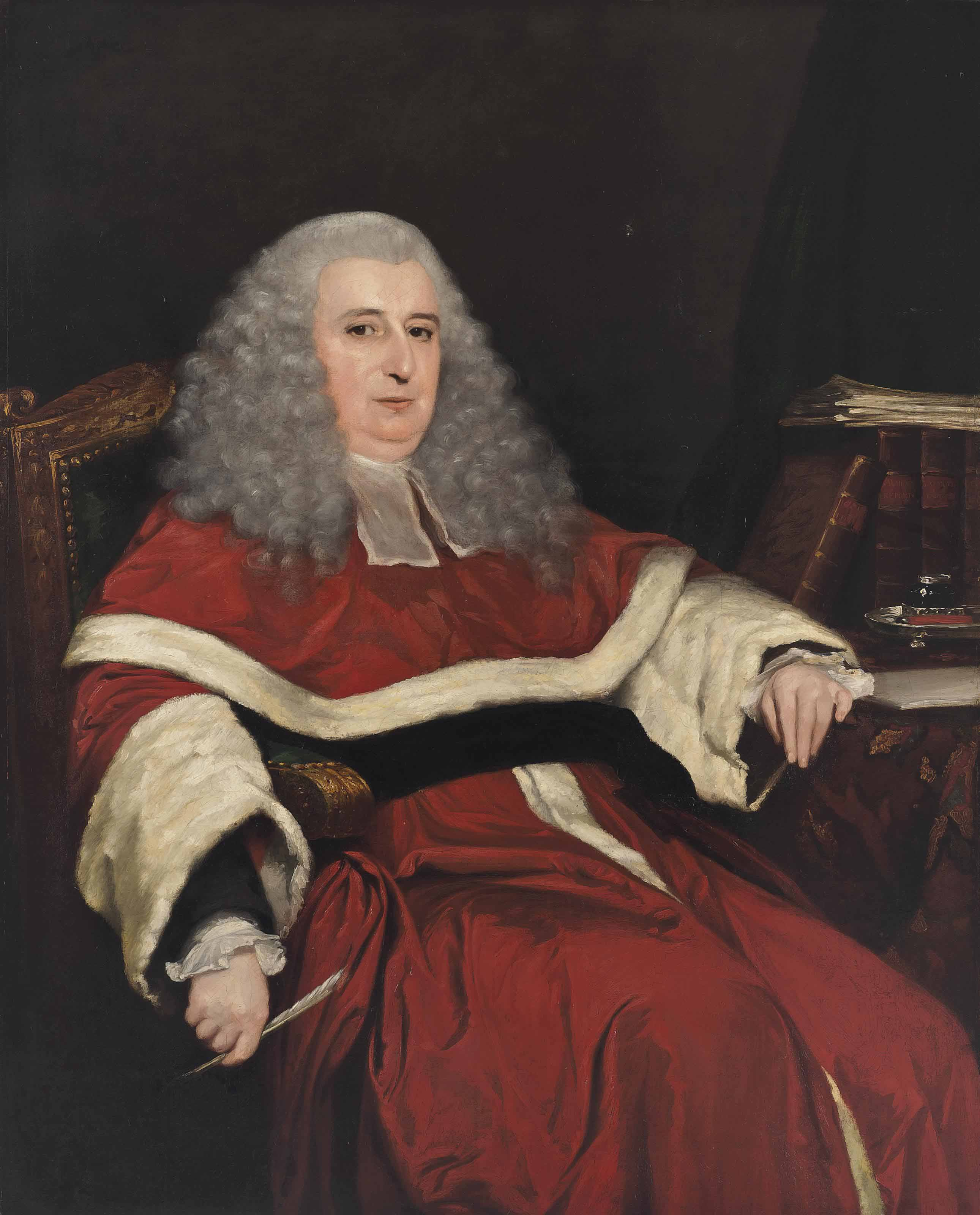Portrait of John Hyde (c.1737–1796), Judge of the Supreme Court, Bengal, three-quarter length, in robes and wig, at a writing table