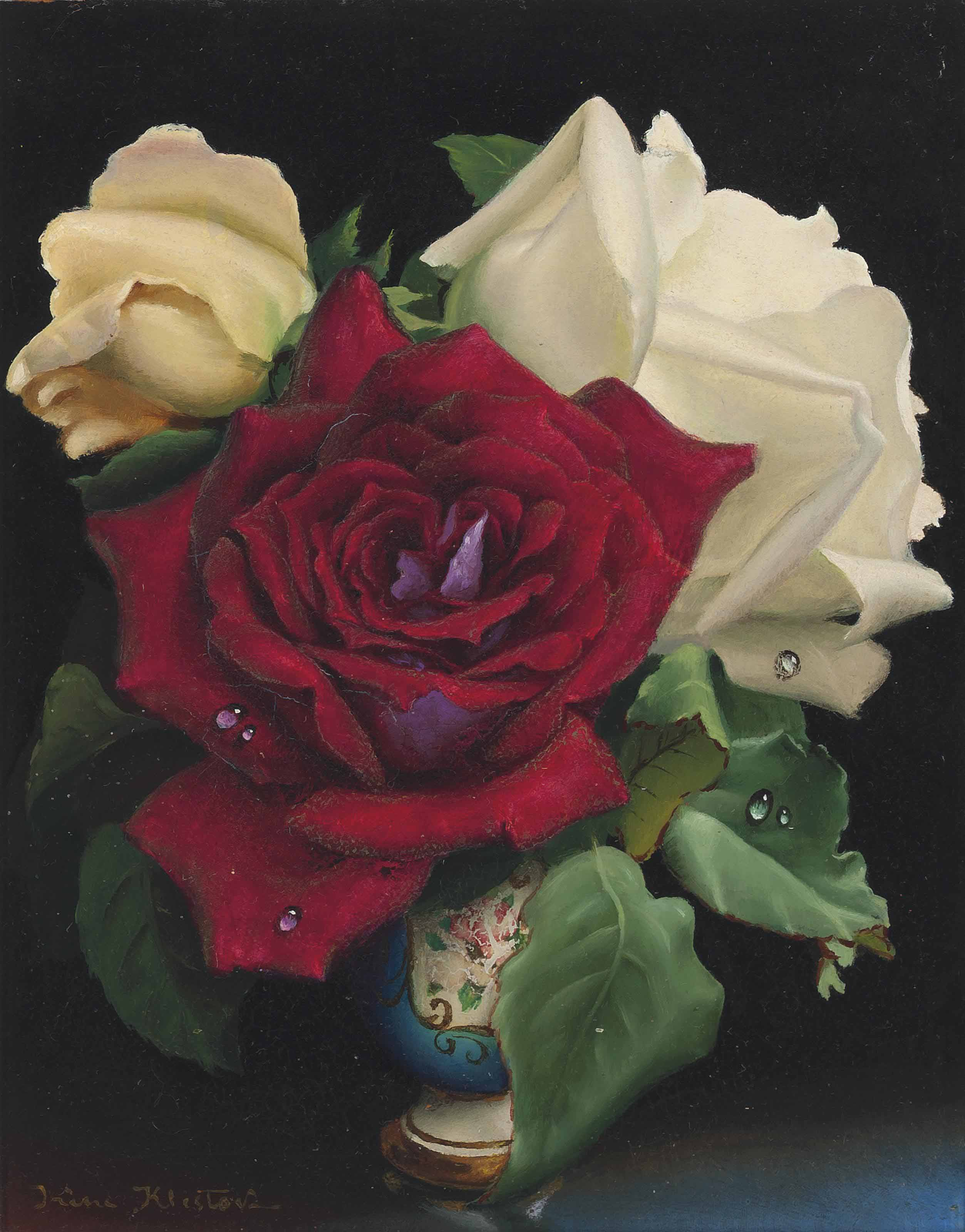 Yellow, white and red roses in a meissen blue vase; and Pink, white and red roses in a meissen blue vase