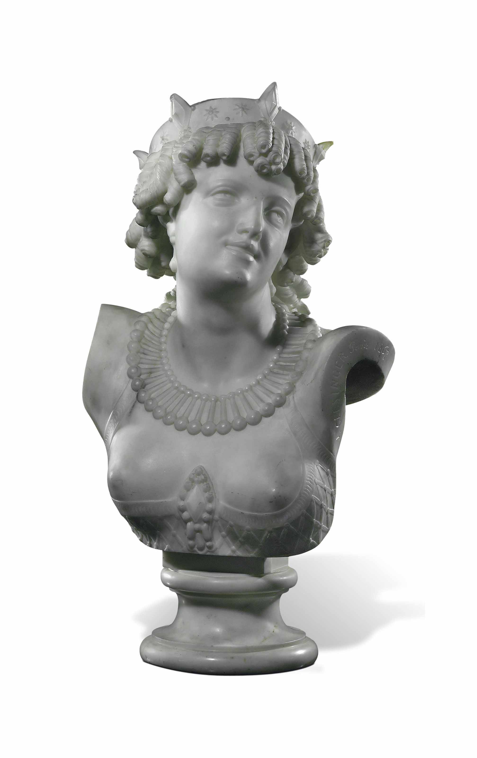 A FRENCH MARBLE BUST OF ARIADNE