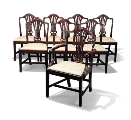 A Set Of Eight George Iii Mahogany Dining Chairs Late
