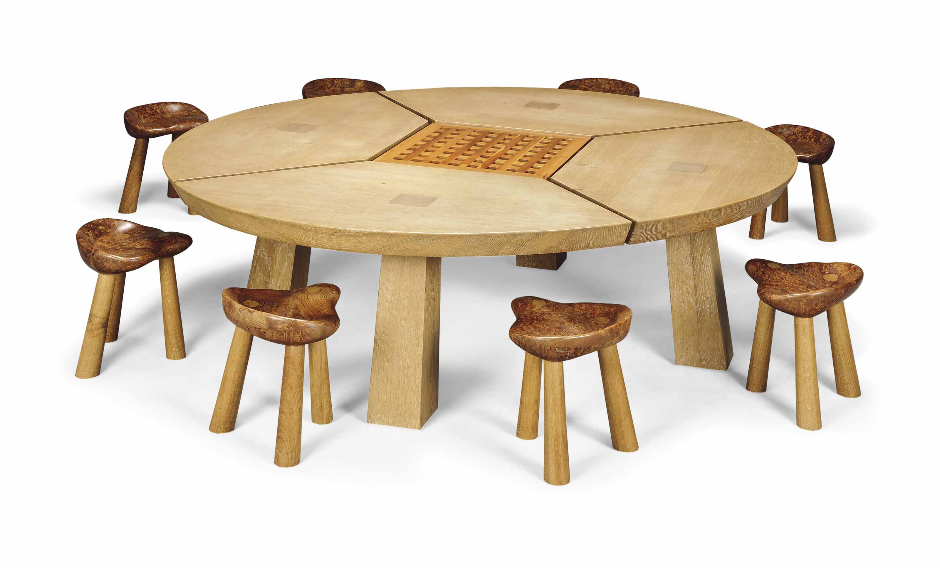 A LARGE OAK TABLE AND EIGHT BURR-ELM AND OAK STOOLS
