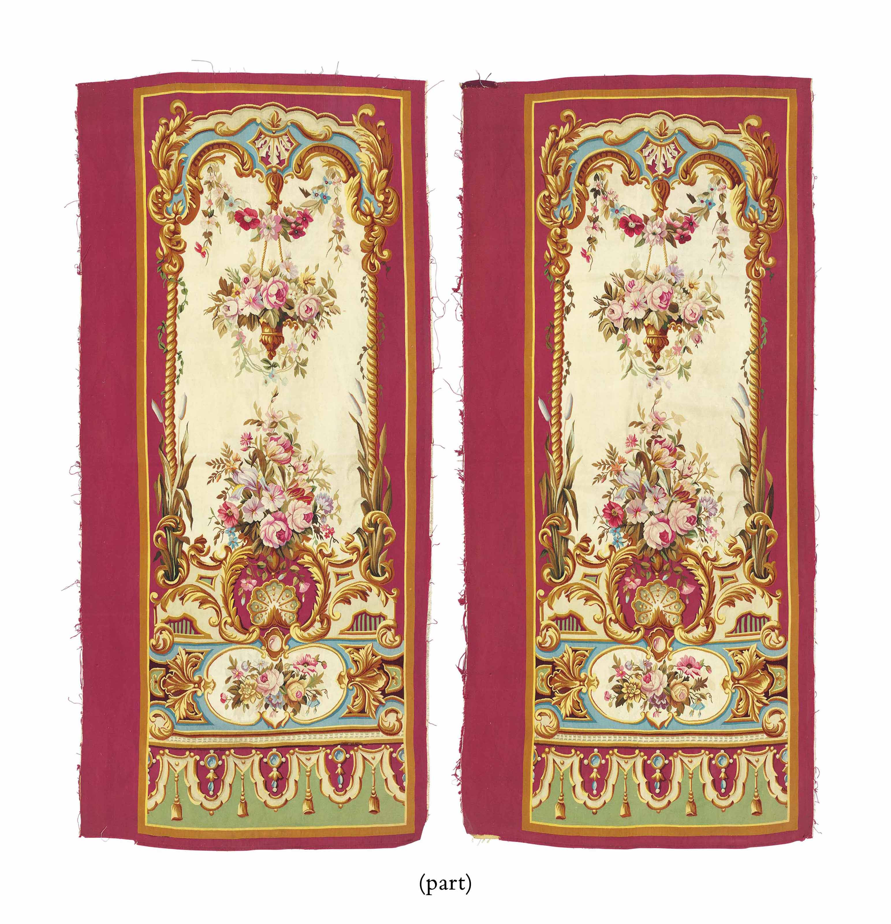 A SET OF FOUR AUBUSSON TAPESTRY HANGINGS