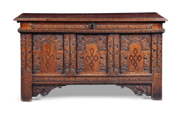 A CHARLES I OAK AND MARQUETRY