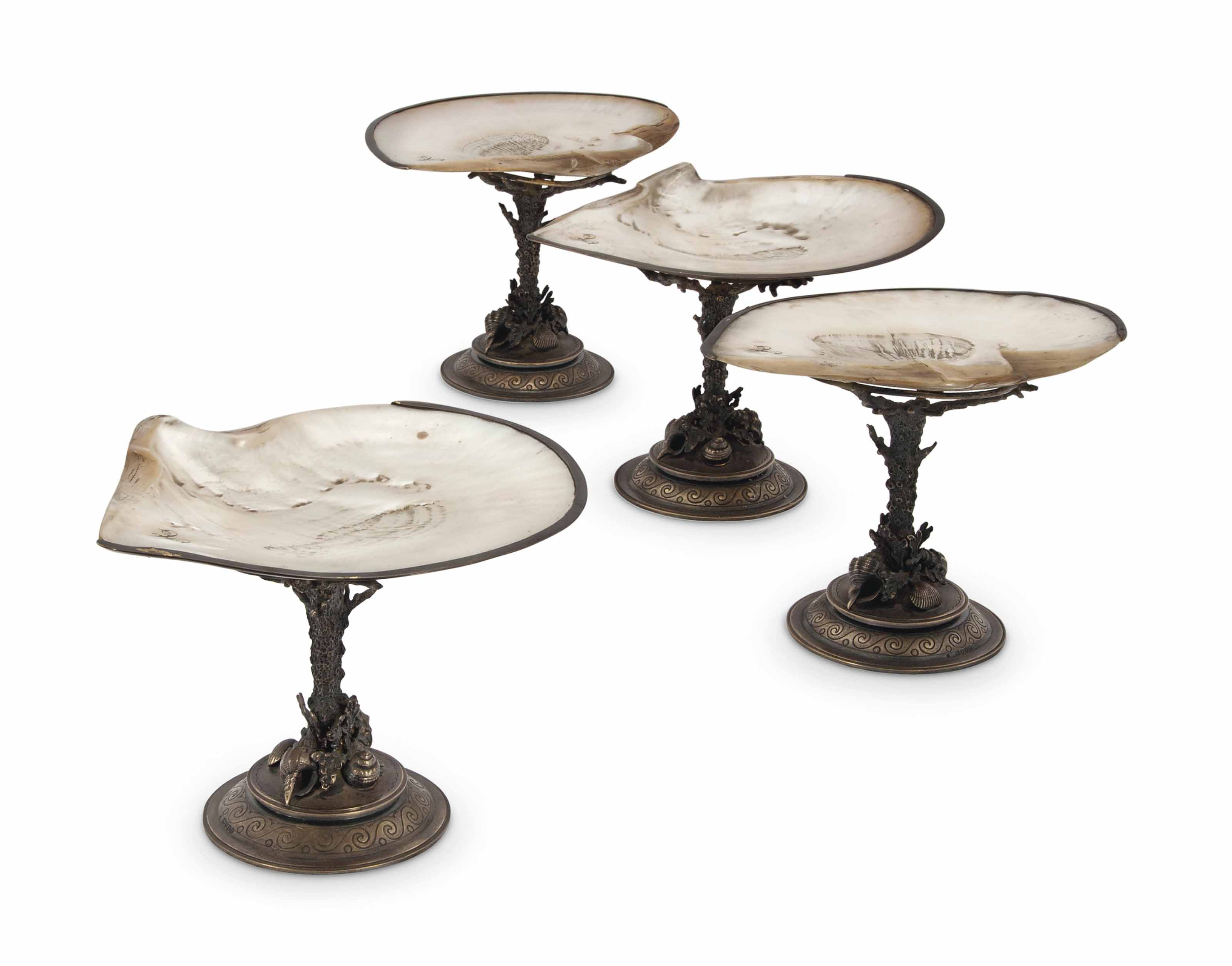 A SET OF FOUR VICTORIAN SILVER-GILT MOUNTED SHELL DESSERT-STANDS
