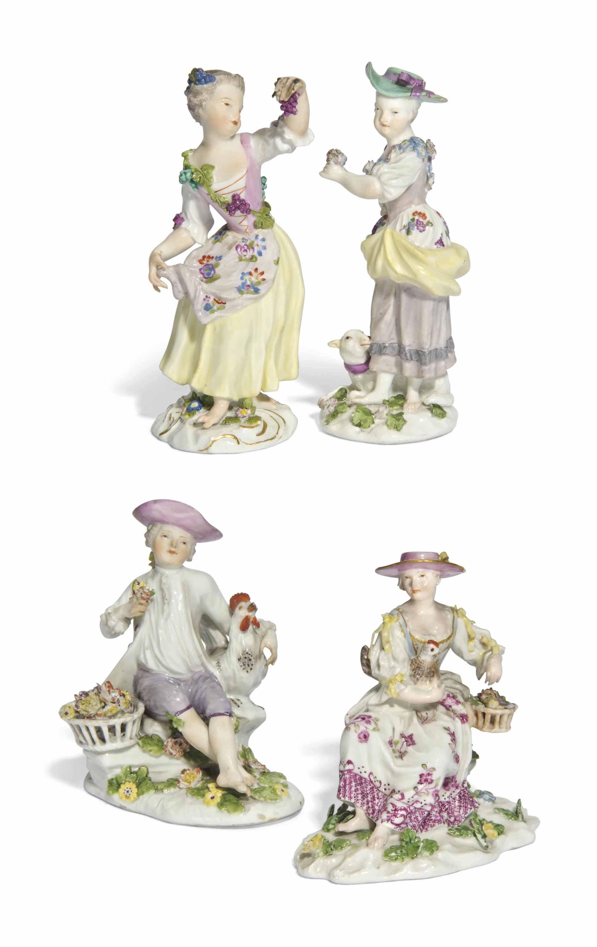 FOUR MEISSEN FIGURES OF FARM GIRLS AND A BOY