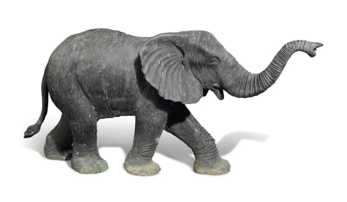 A BRONZE MODEL OF AN ELEPHANT