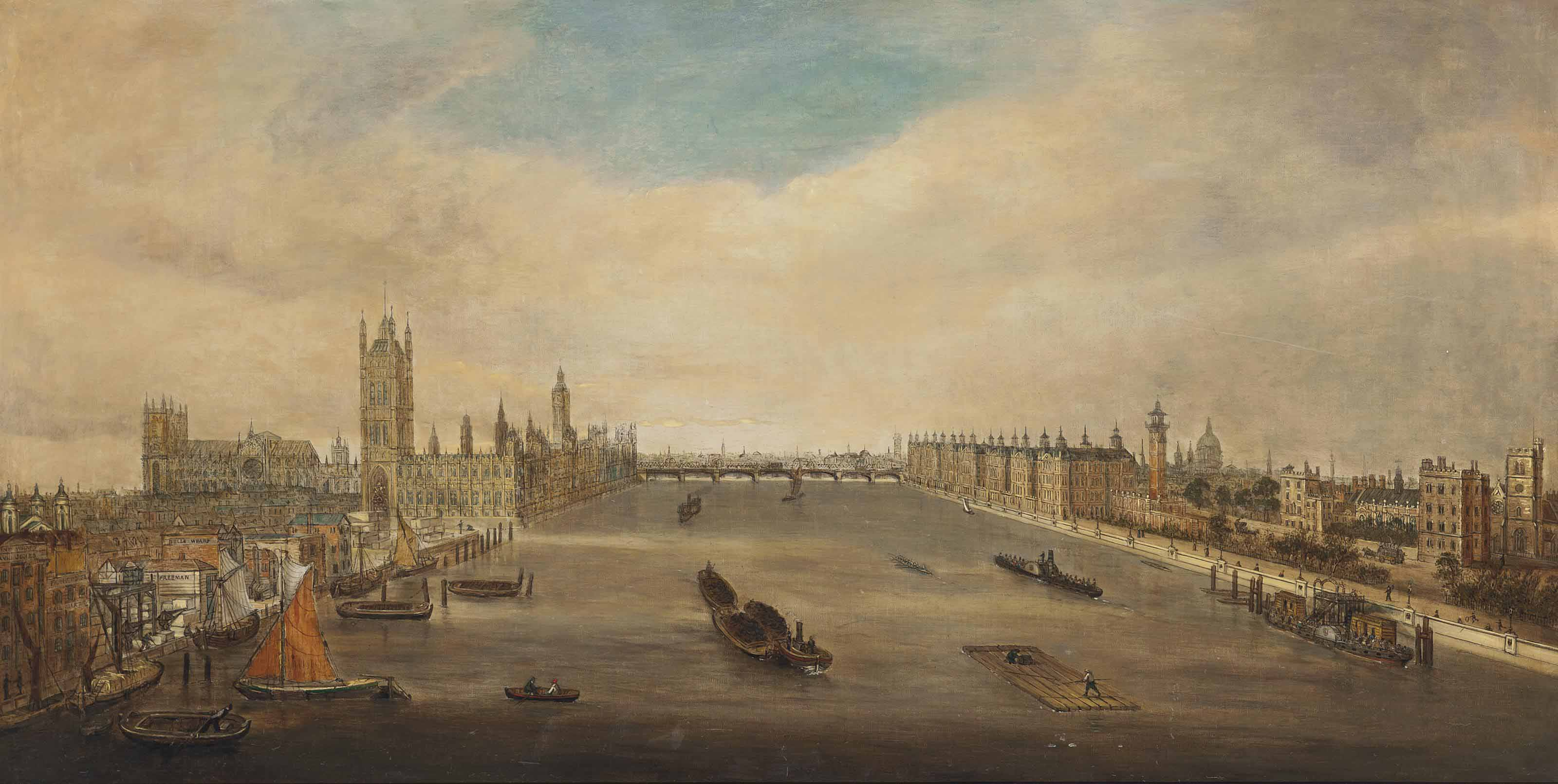 A view of the Thames towards Westminster Bridge with the Houses of Parliament and Lambeth Palace, shipping in the foreground