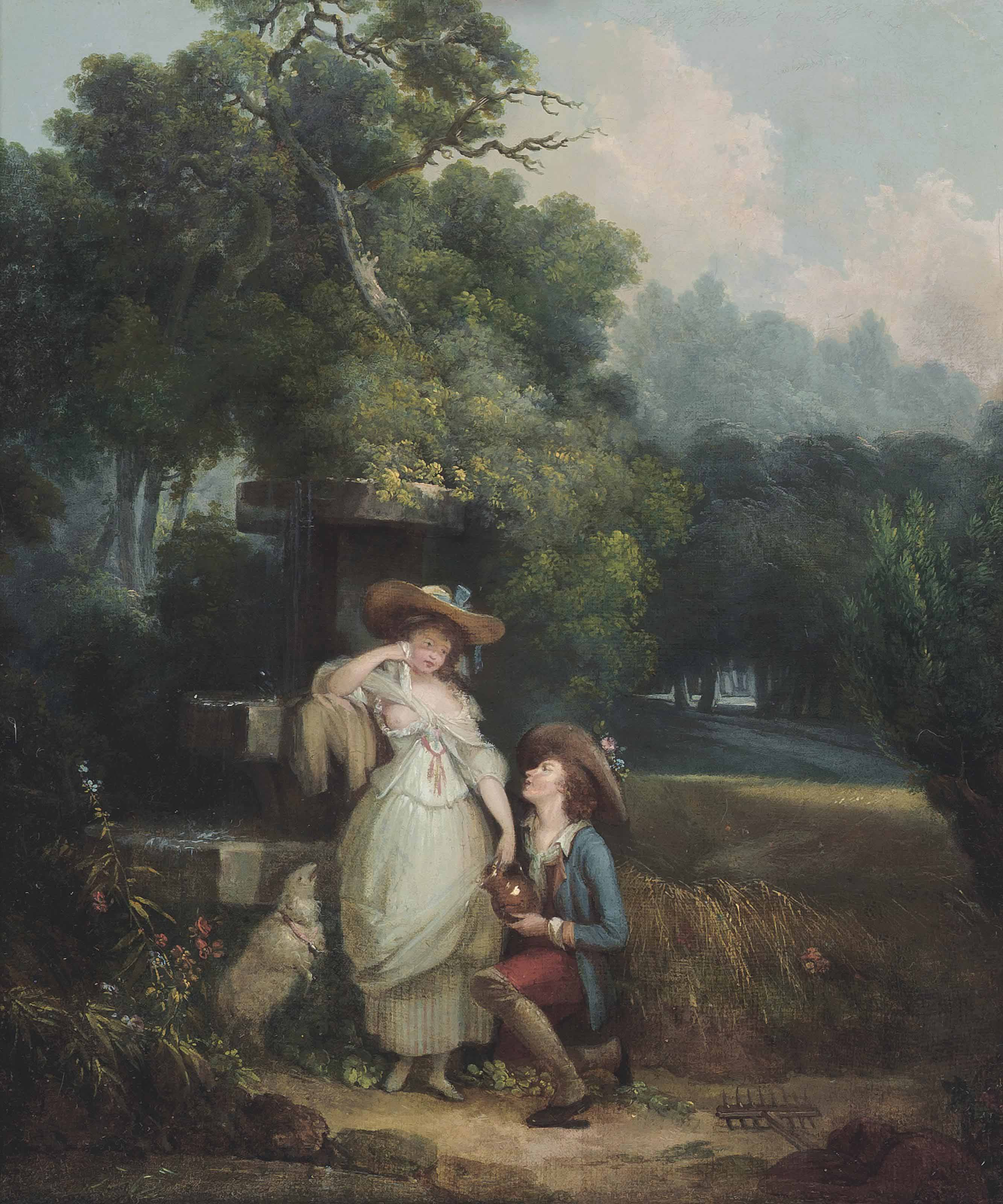 A shepherd courting a shepherdess by a fountain, with a sheep, in a wooded landscape