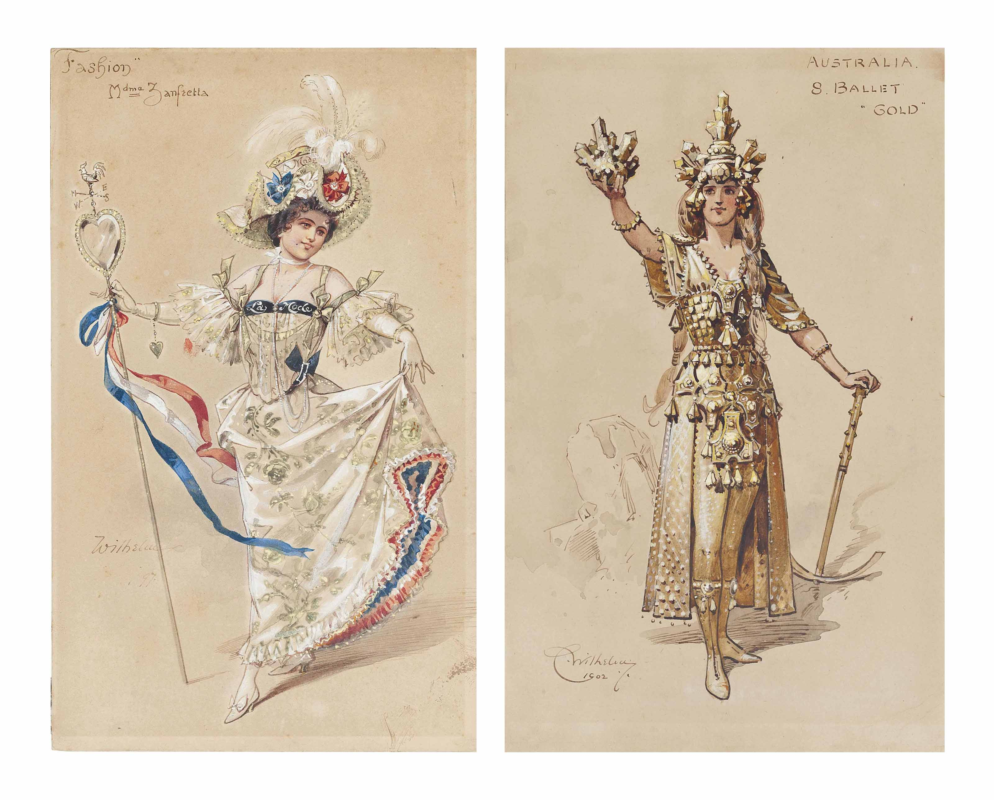 Six costume designs for ballets at the Empire Theatre, London: Fashion; Butterfly; Mayfly; Canada; Australia; and Russia (two illustrated)