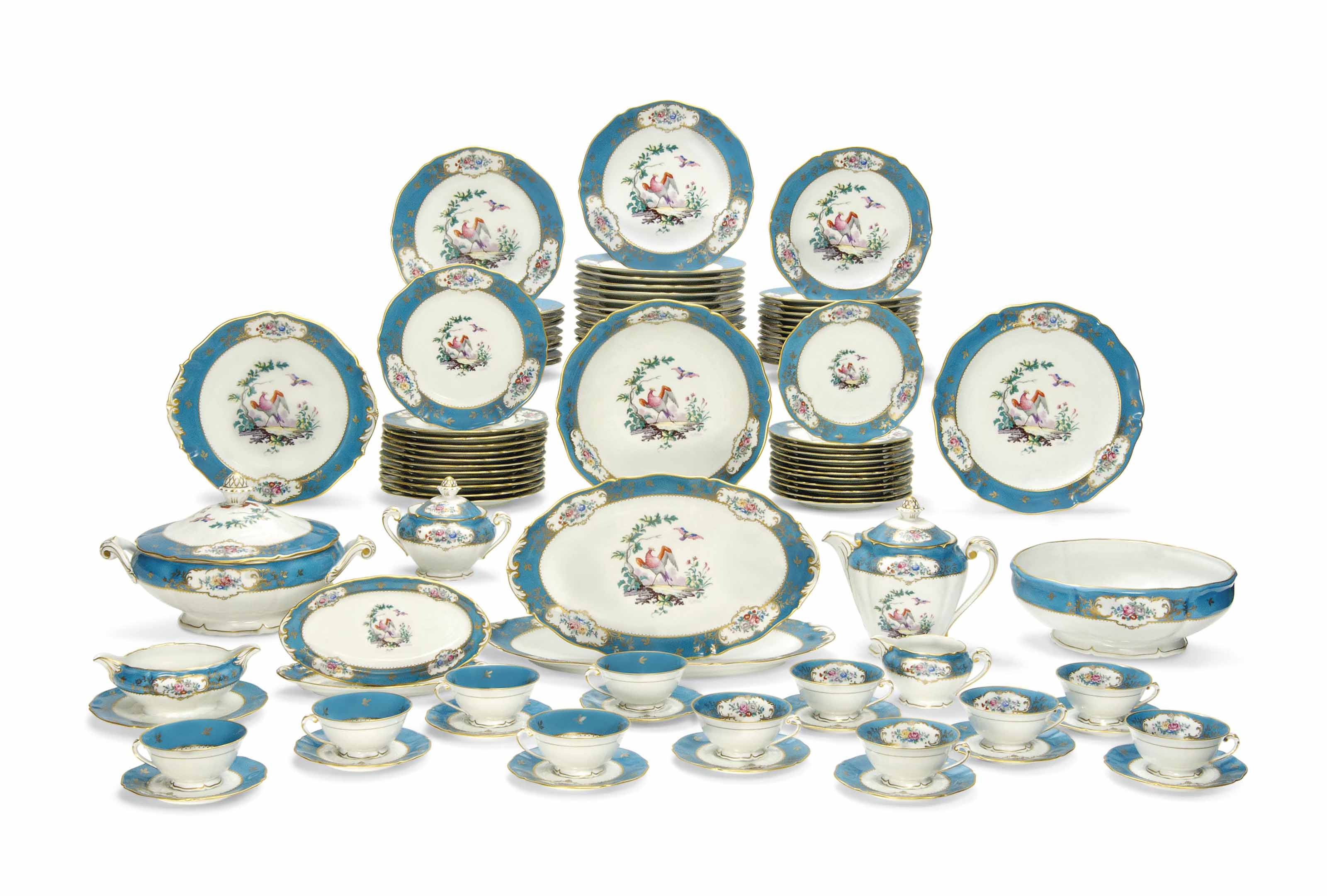 A LIMOGES SEVRES-STYLE TURQUOISE-GROUND PART DINNER-SERVICE