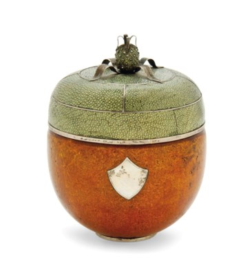 A SHAGREEN SILVER-INLAID AND B