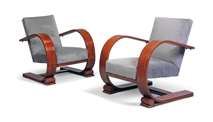 A PAIR OF FRENCH BEECH ARMCHAI