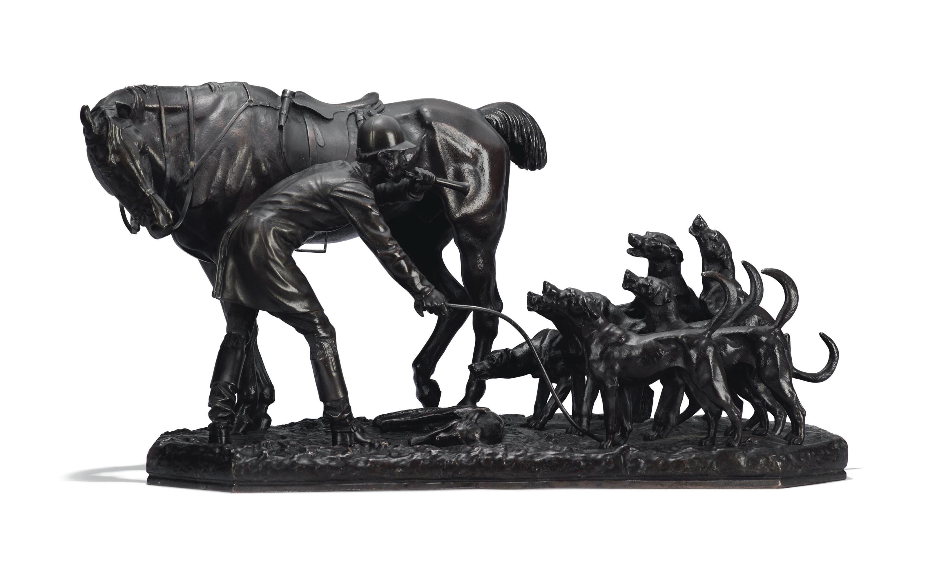 AN ANGLO-IRISH BRONZE GROUP OF A HUNTSMAN WITH A HORSE HOUNDS AND A FOX