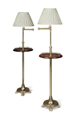 A PAIR OF BRASS AND MAHOGANY F