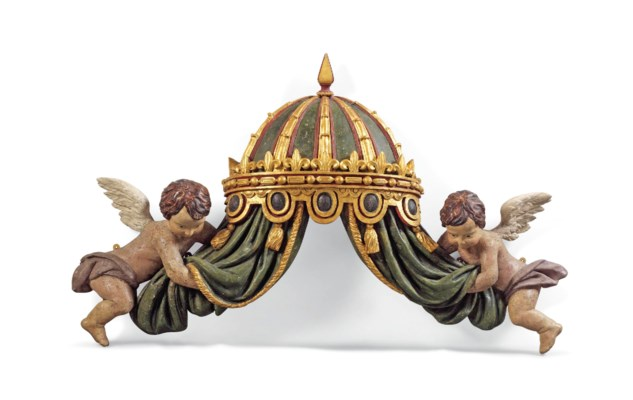 A CARVED PARCEL-GILT AND POLYC