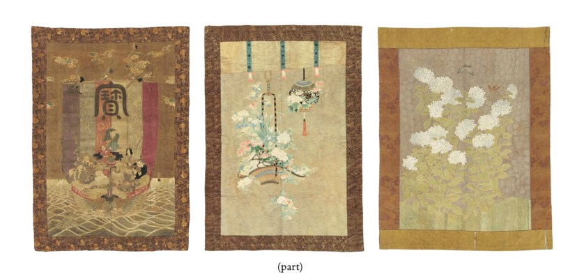 THREE JAPANESE EMBROIDERED WAL