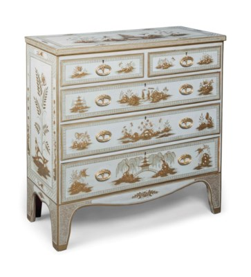 A GREY AND GILT-JAPANNED CHEST