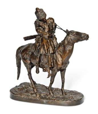 A RUSSIAN BRONZE GROUP OF THE