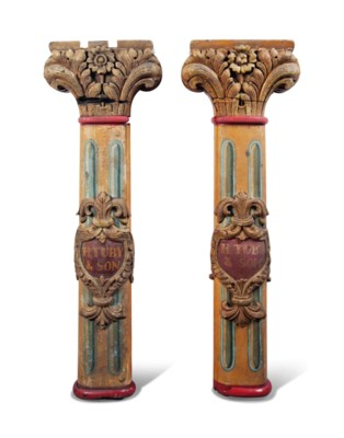 A PAIR OF ENGLISH CARVED AND P