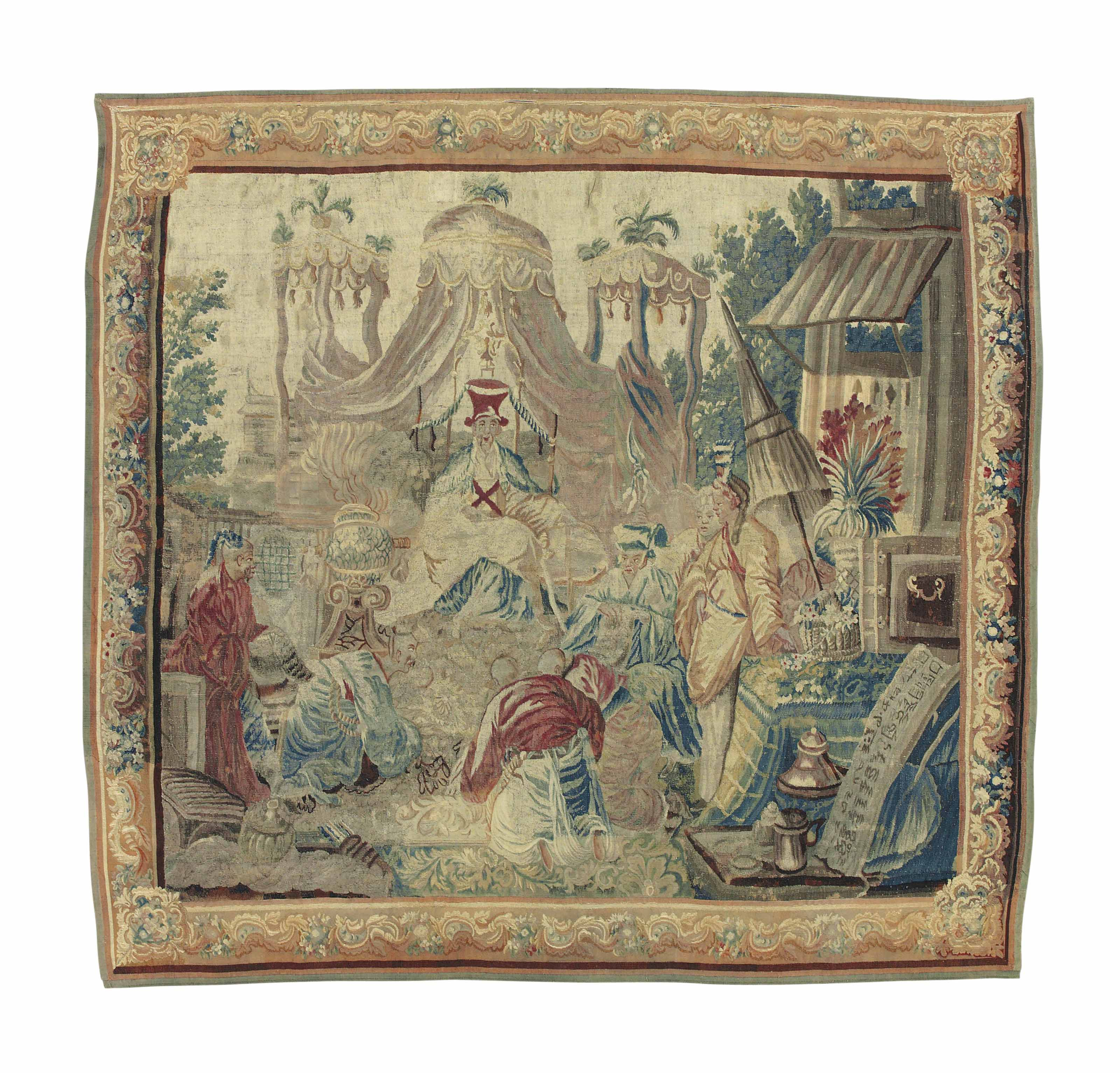 AN AUBUSSON CHINOISERIE TAPESTRY
