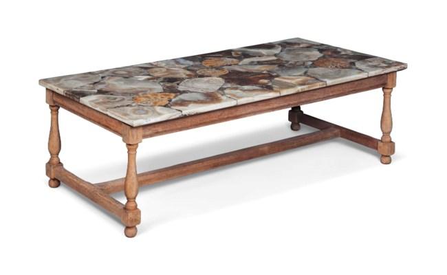 A BLEACHED OAK LOW TABLE