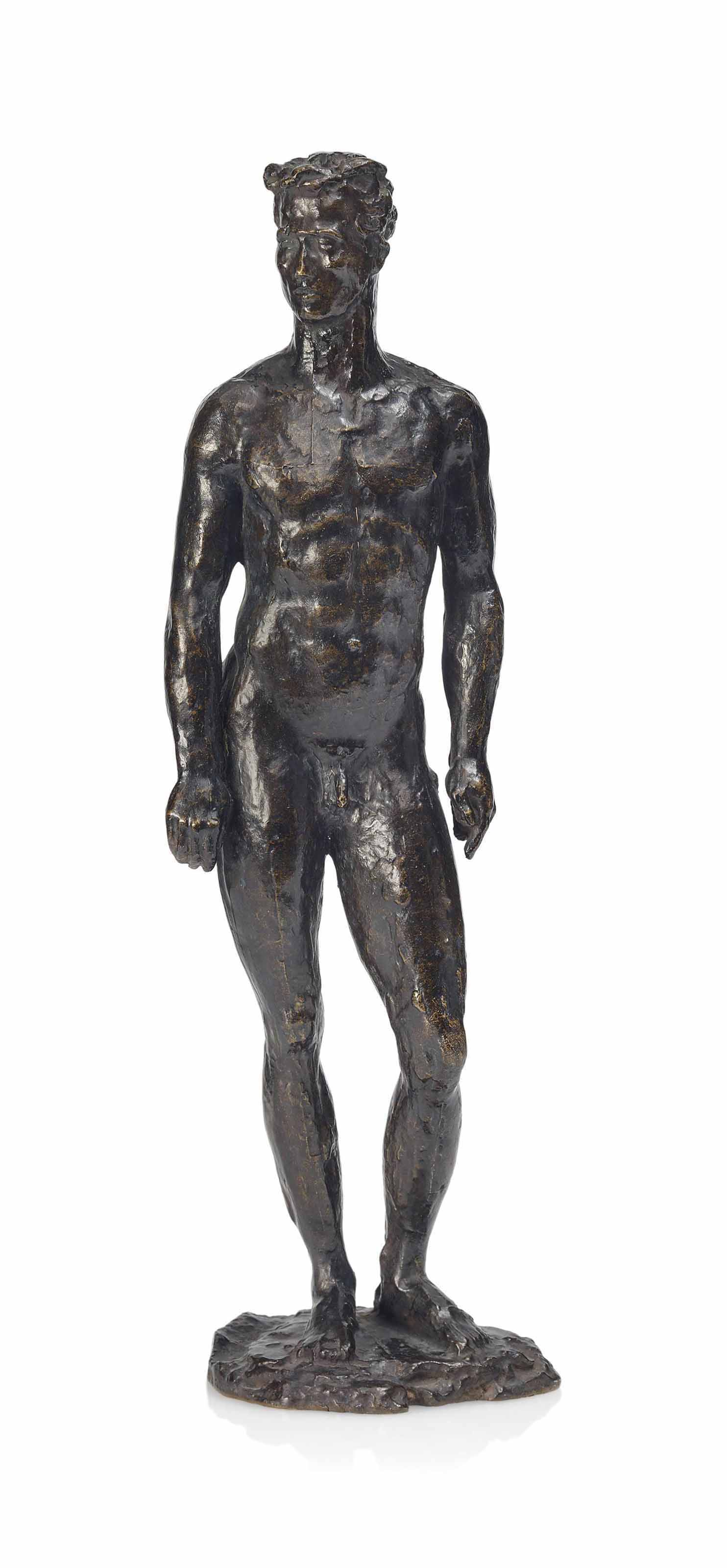 A PAUL BELMONDO (1898-1982) PATINATED BRONZE STUDY OF A MALE NUDE
