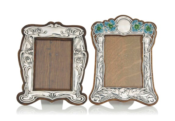TWO EDWARDIAN SILVER AND OAK P