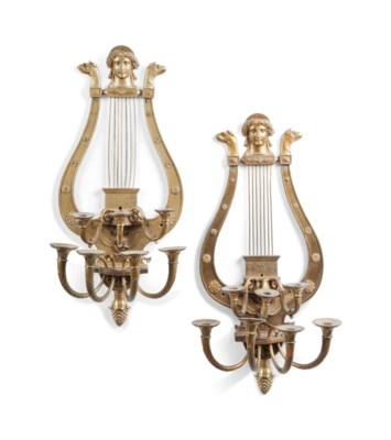 A PAIR OF LARGE ORMOLU SEVEN-L