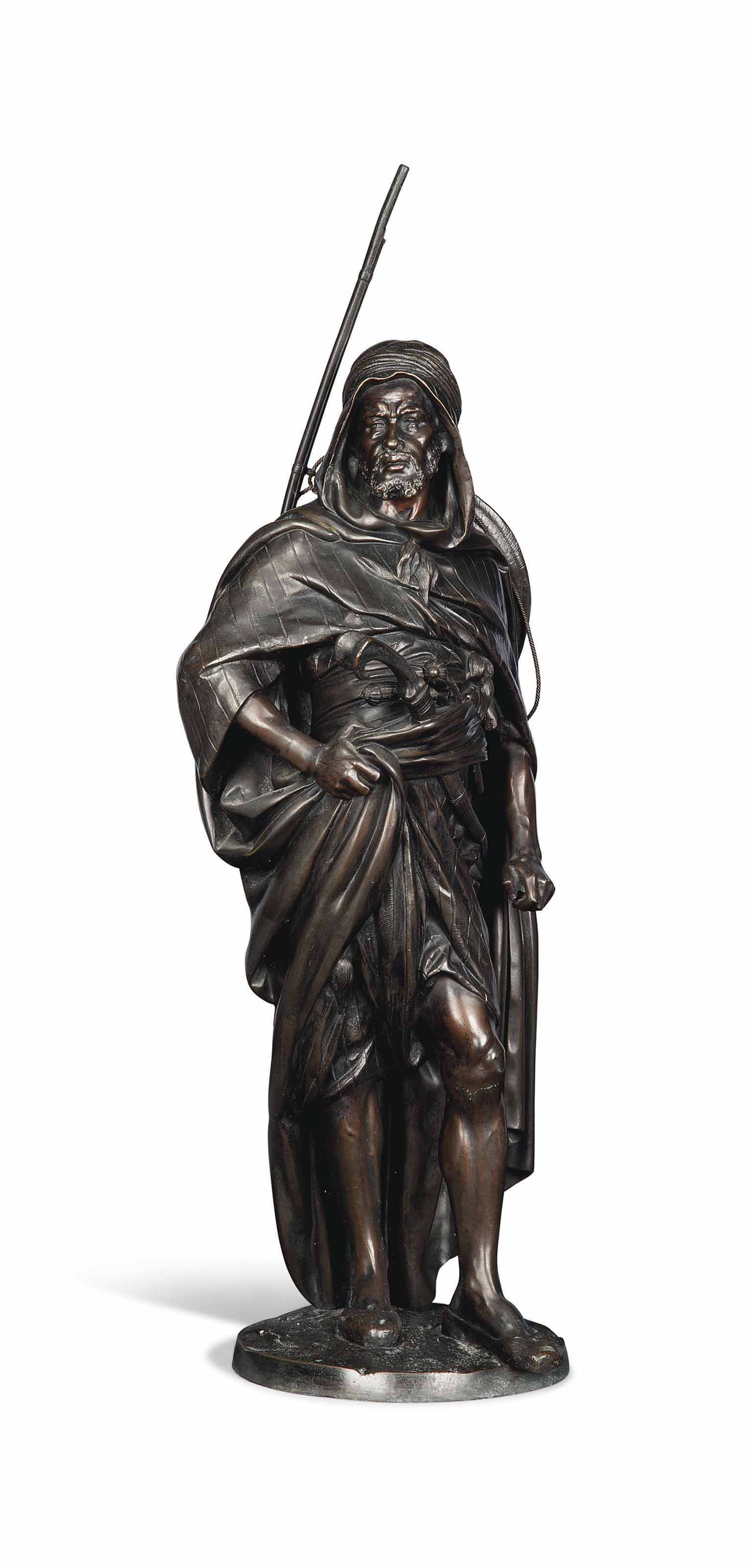 A FRENCH BRONZE FIGURE OF AN ARAB WARRIOR