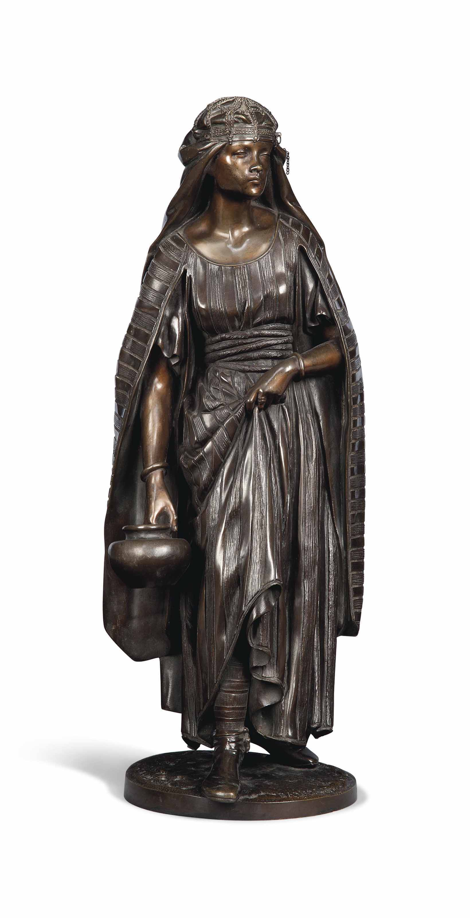 A FRENCH BRONZE FIGURE OF A FEMALE WATER-CARRIER