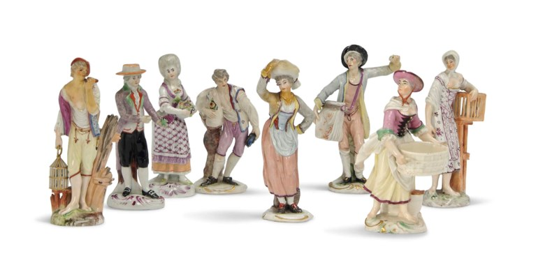 A GROUP OF EIGHT GERMAN PORCEL