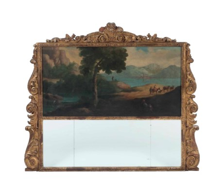 A ENGLISH GILTWOOD-FRAMED OVER