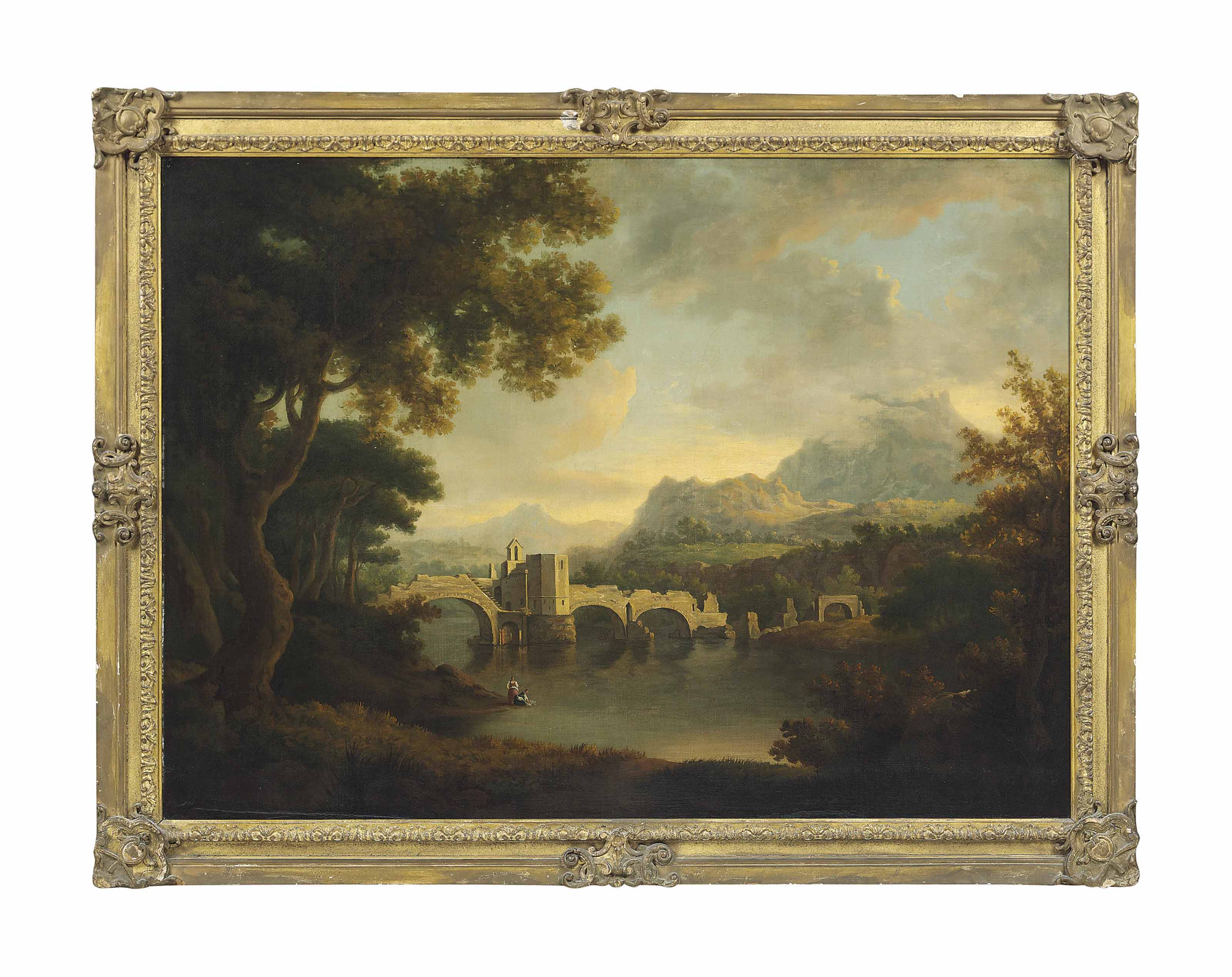 A wooded river landscape with a ruined bridge and washerwomen on a bank in the foreground