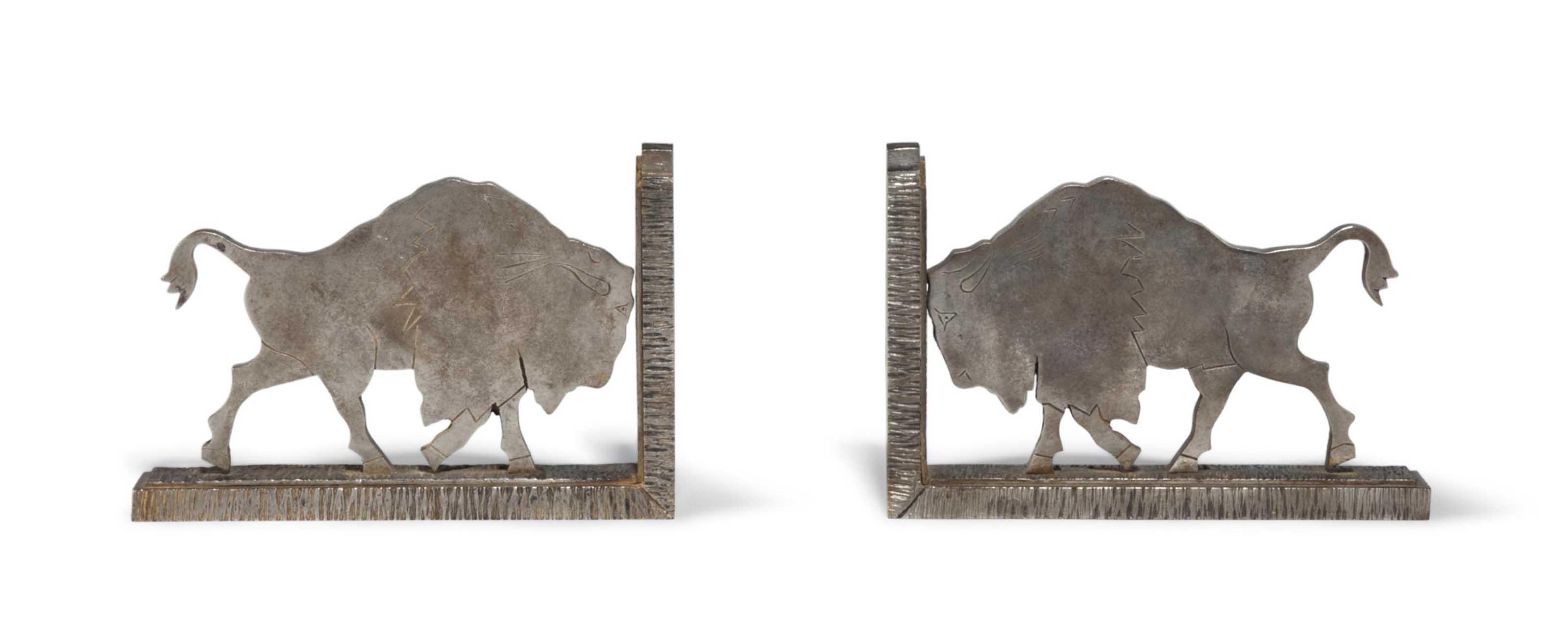 PAIR OF MICHEL ZADOUNAISKY ART DECO WROUGHT-IRON BOOKENDS