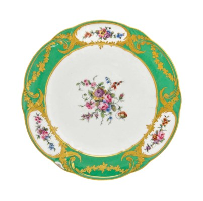 A SEVRES GREEN-GROUND PLATE (A