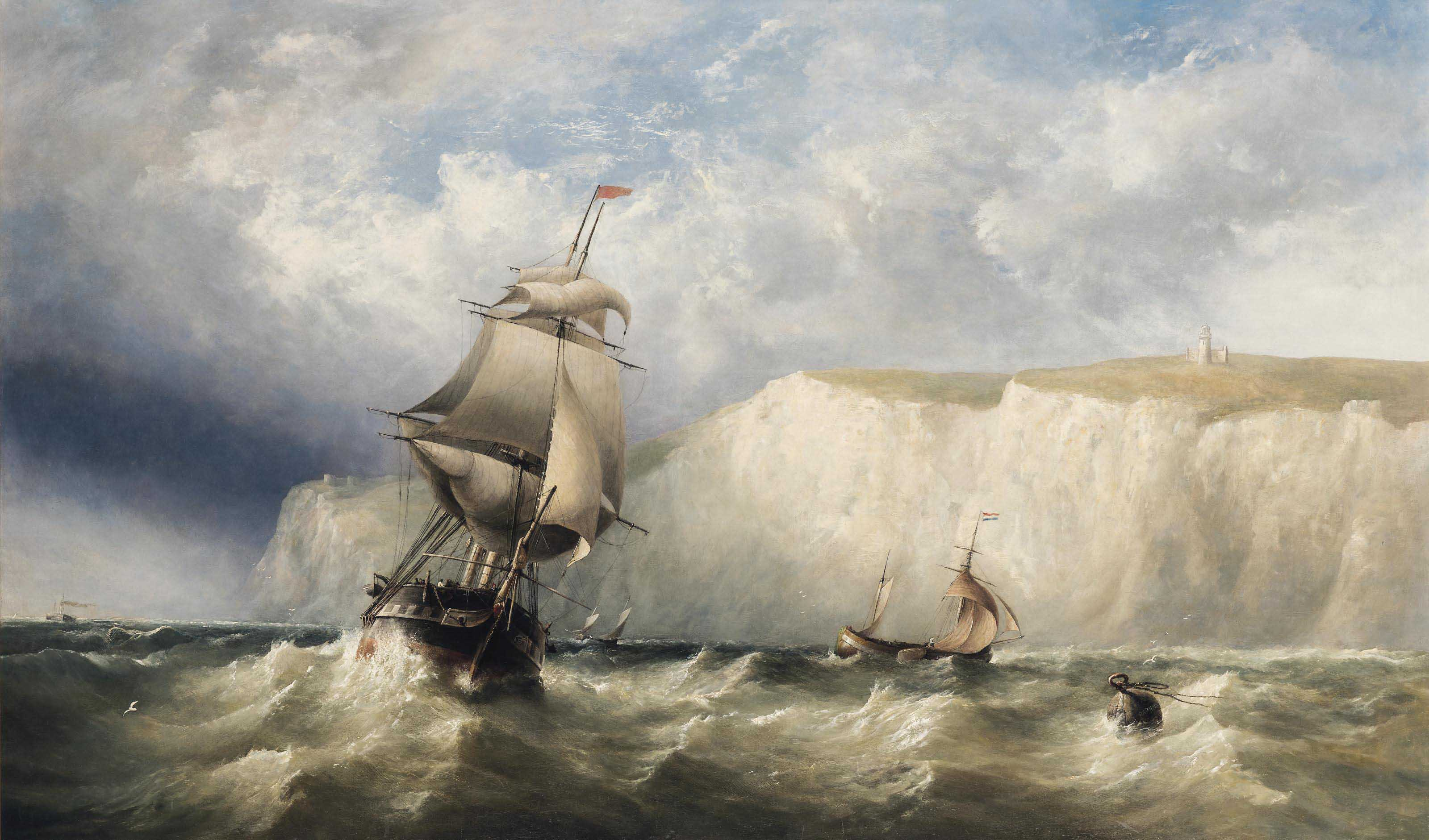 Shipping in a heavy swell in the Channel off Dover