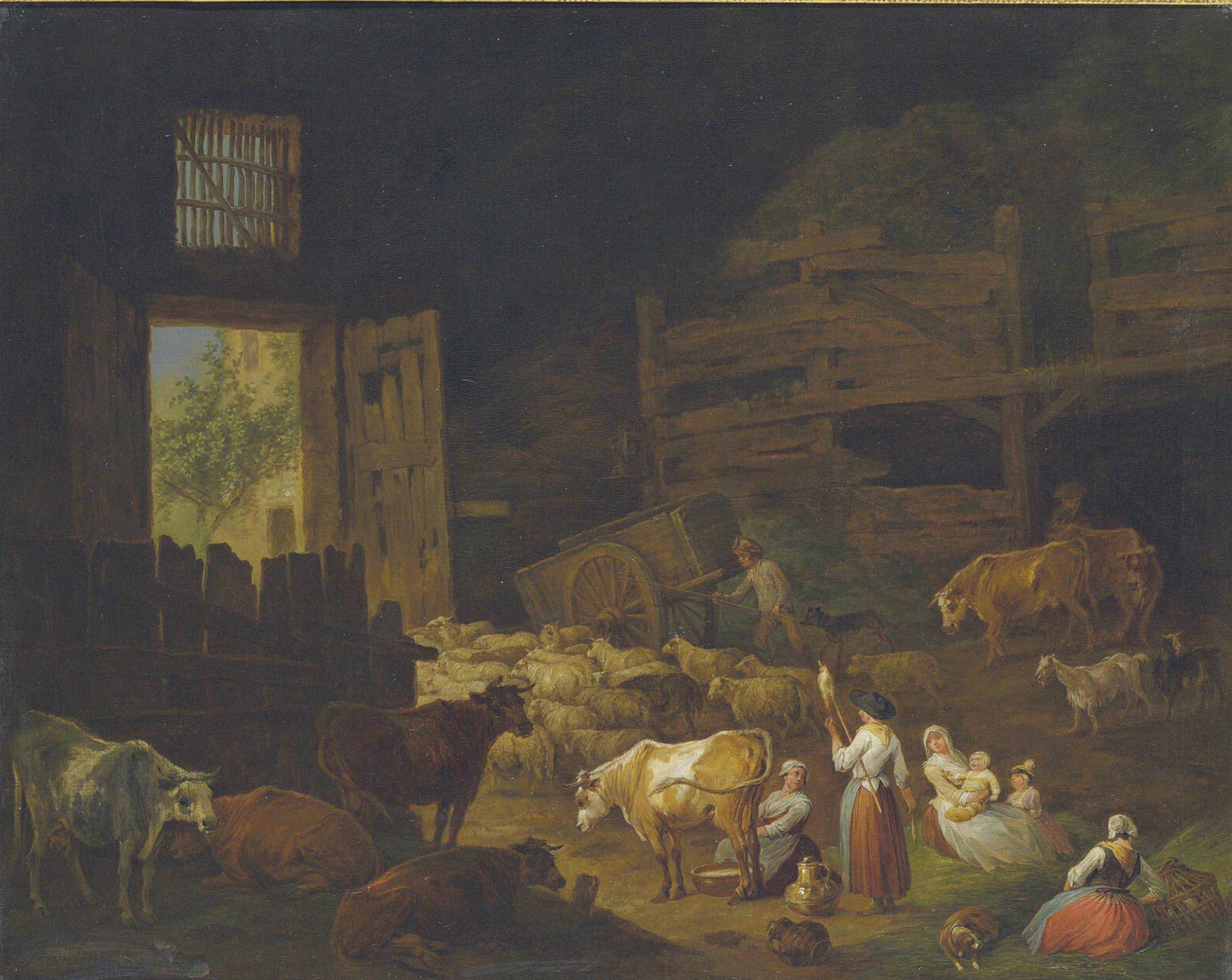Cows, sheep, and other animals in a barn interior, with peasants resting in the foreground