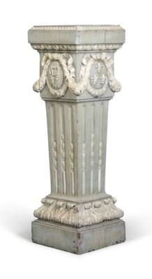 A FRENCH CARVED OAK WHITE AND